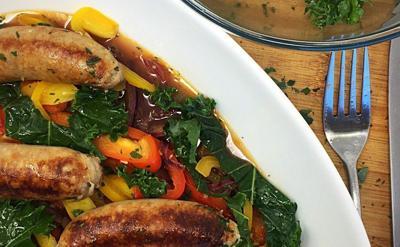 Chicken sausage pepper casserole