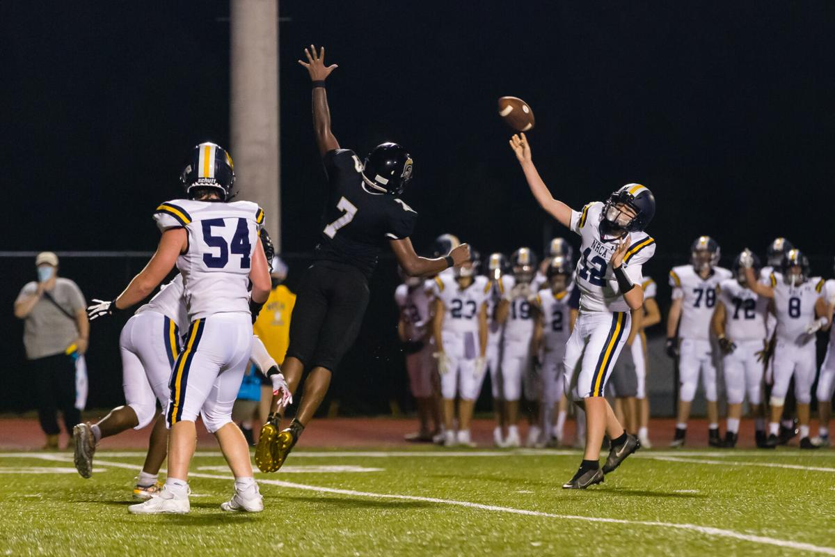 The Cabarrus Warriors (Cannon School / Concord First Assembly) defeat the North Raleigh Christian Academy Knights 21-14 on Friday Night.