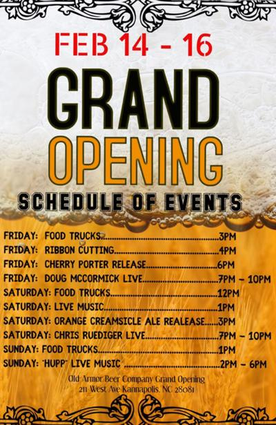 Old Armor Beer Company grand opening weekend schedule