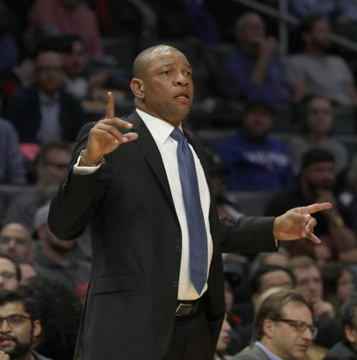 Los Angeles Clippers head coach Doc Rivers on the sidelines against the Denver Nuggets on January 17, 2018, at Staples Center in Los Angeles.