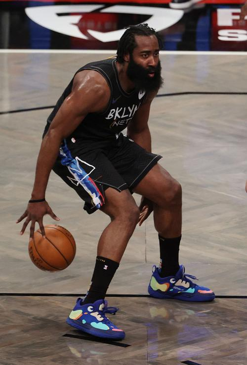 James Harden of the Brooklyn Nets dribbles against the Orlando Magic at the Barclays Center in New York on Thursday, Feb. 25, 2021.
