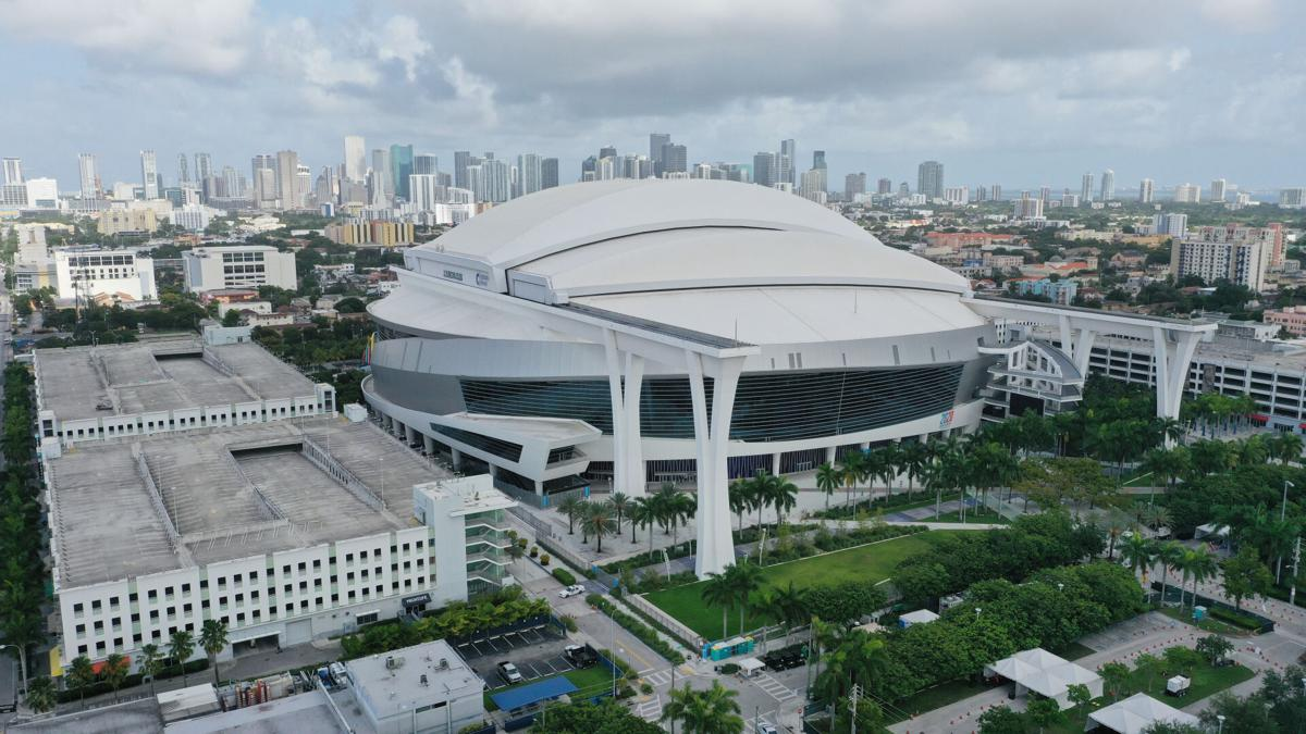 MIAMI, FLORIDA - JULY 27: An aerial drone view of Marlins Park on July 27, 2020 in Miami, Florida. The Miami Marlins' home opener against the Baltimore Orioles was postponed after a number of players tested positive for COVID-19.