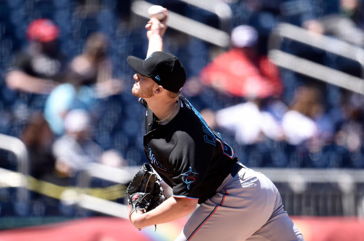 Paul Campbell #53 of the Miami Marlins pitches in the second inning against the Washington Nationals at Nationals Park on May 1, 2021 in Washington, DC.