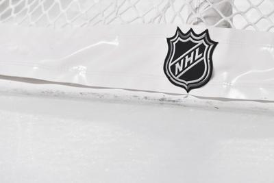 the NHL logo on the back of the goal netting as the Montreal Canadiens play host to the Boston Bruins at the Bell Centre on November 5, 2019, in Montreal, Canada.