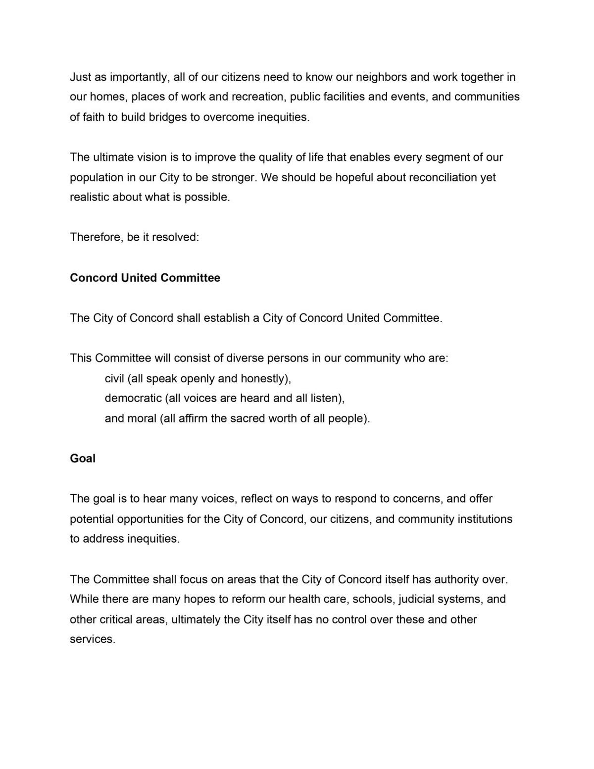 Concord United Committee Petition 2