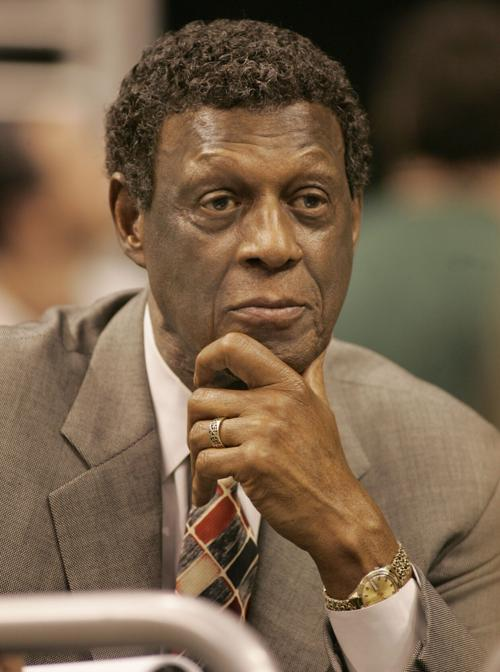 In this 2005 file image, Clippers General Manager Elgin Baylor makes a face during the game against the Atlanta Hawks at Staples Center on November 4.
