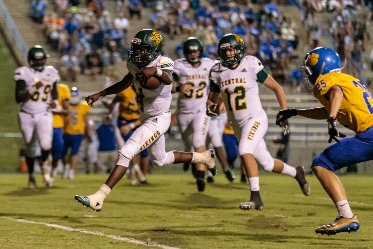 The Central Cabarrus Vikings shut out the Mount Pleasant Tigers 45-0.