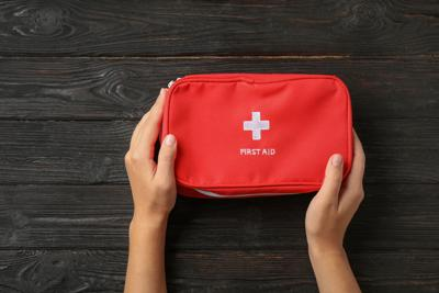 During hurricane season, first-aid kits should be stored in a waterproof container.