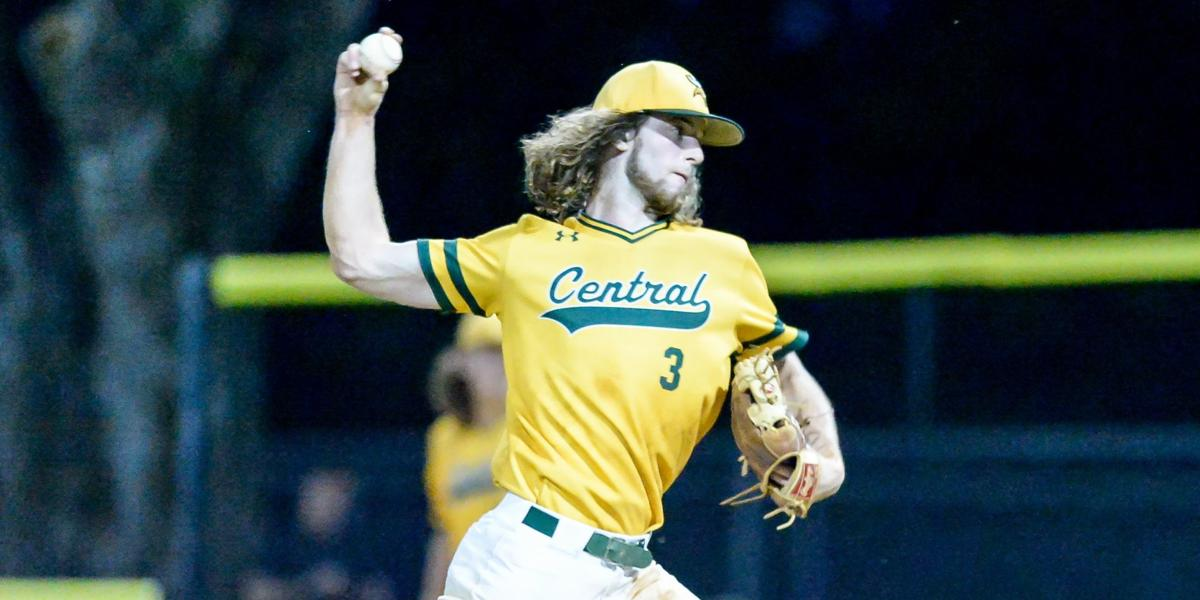 During Tuesday night baseball action, at Central Cabarrus High school,, Harrisburg,, North Carolina,, Central Cabarrus had a neutral tournament game against Concord. Evan McGee (3) throwing from the stretch. Concord holds off a late rally to win 4-3.