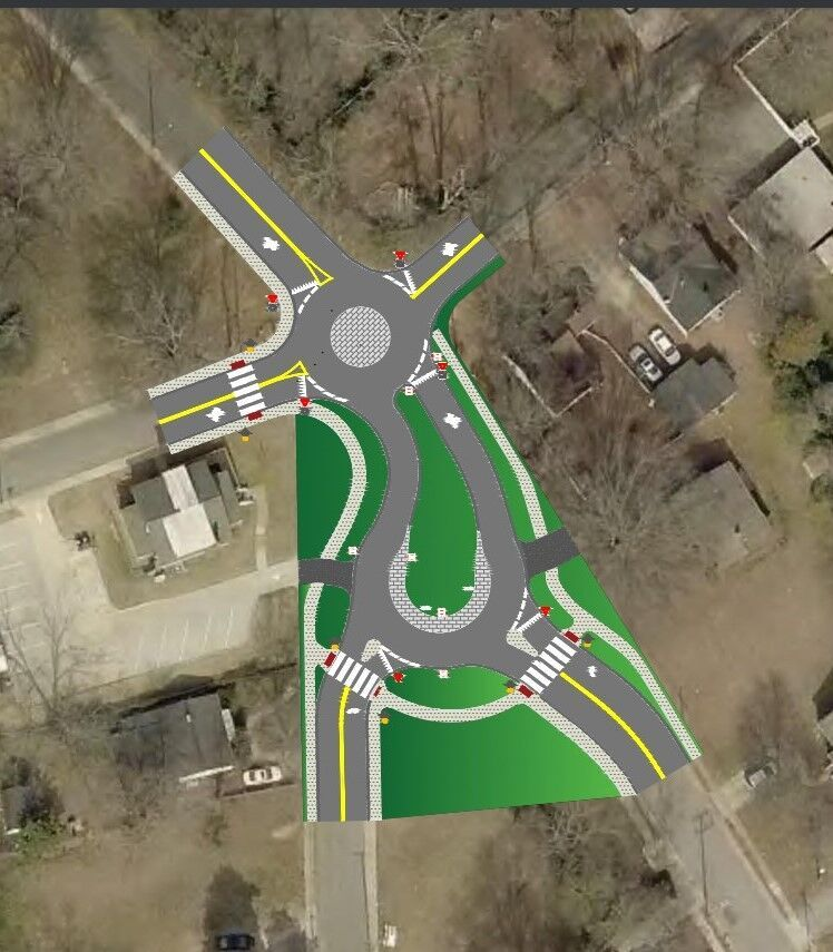 Mini Roundabout Teardrop Intersection