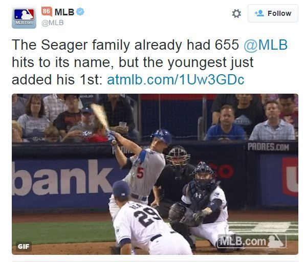 Corey Seager's first big league hit