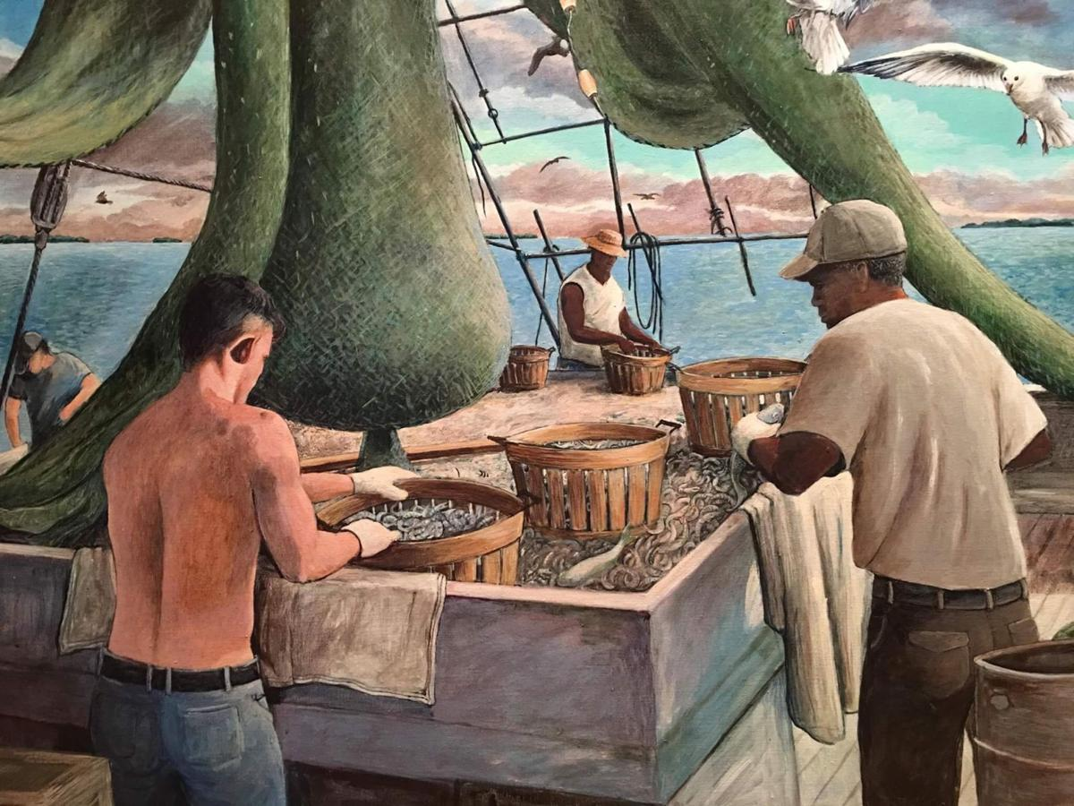Growing up in the Lowcountry and a photo of shrimp boat life inspired this Arce painting