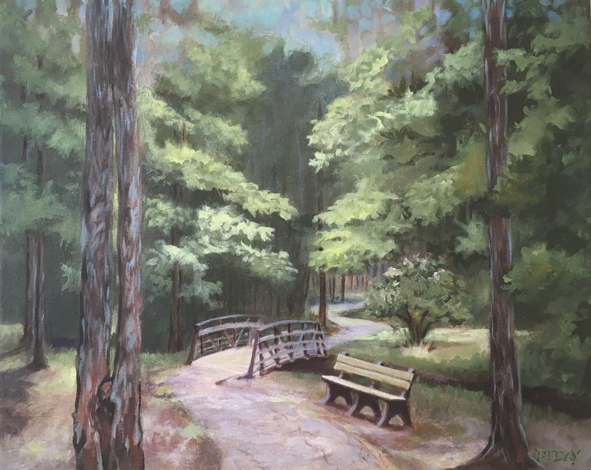 Peggy Tanner Day painted this idyllic view from inside Ninety Six National Historic Site