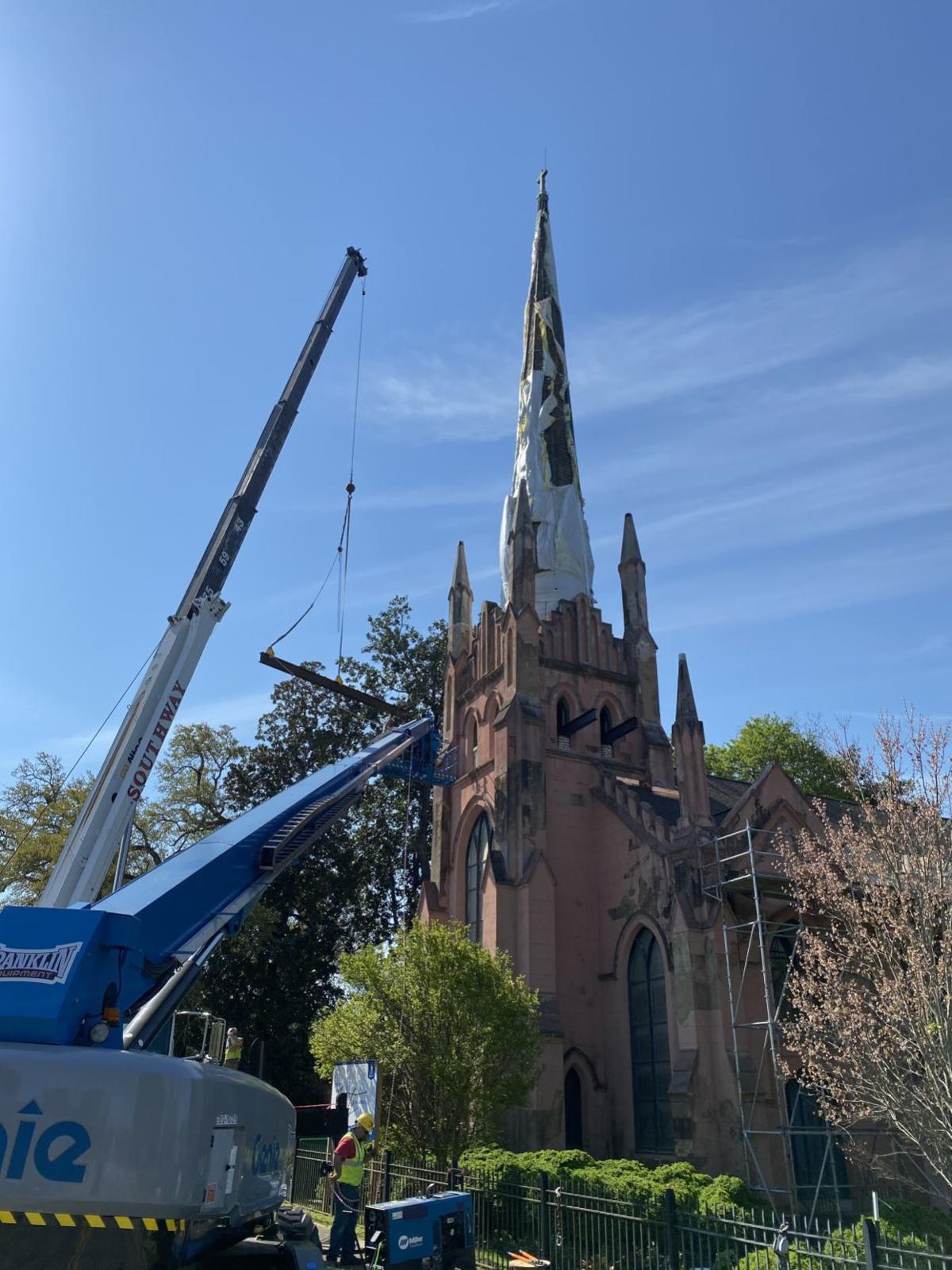 April 8, plans are for Trinity's steeple to be detached and anchored