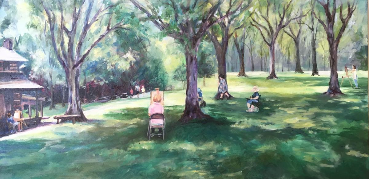 Alice Broadwell Lewis painted this scene of artists painting plein-air