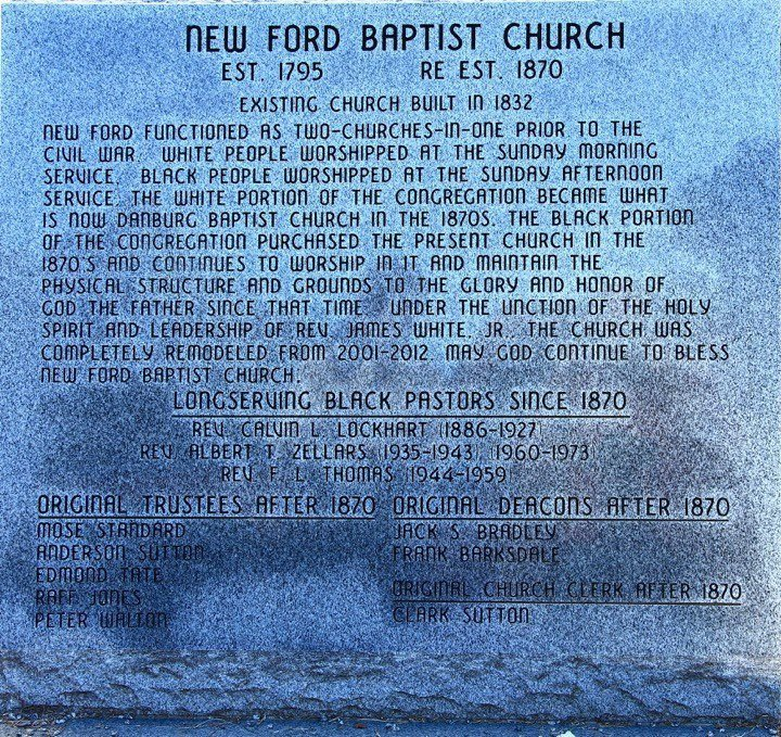 New Ford Baptist Church plaque