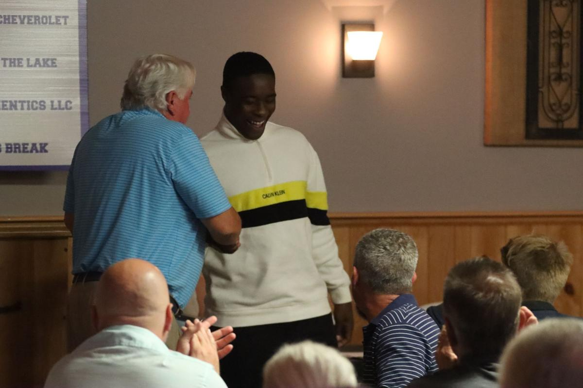 Martavis Mason laughs while being introduced to the Greenwood Touchdown Club