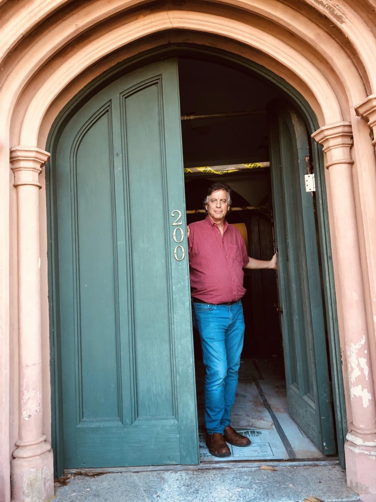 Mike Bedenbaugh of Preservation SC at the front entrance of Trinity Episcopal in Abbeville