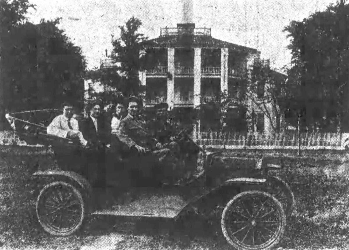 The Greenwood Index scout car, party in front of Frazier-Pressley house at Cedar Springs