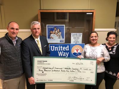 Countybank and Greenwood Capital donates to United Way