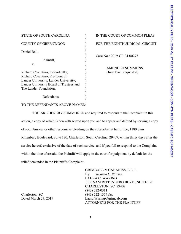Dan Ball v Richard Cosentino et al, complaint (Amended