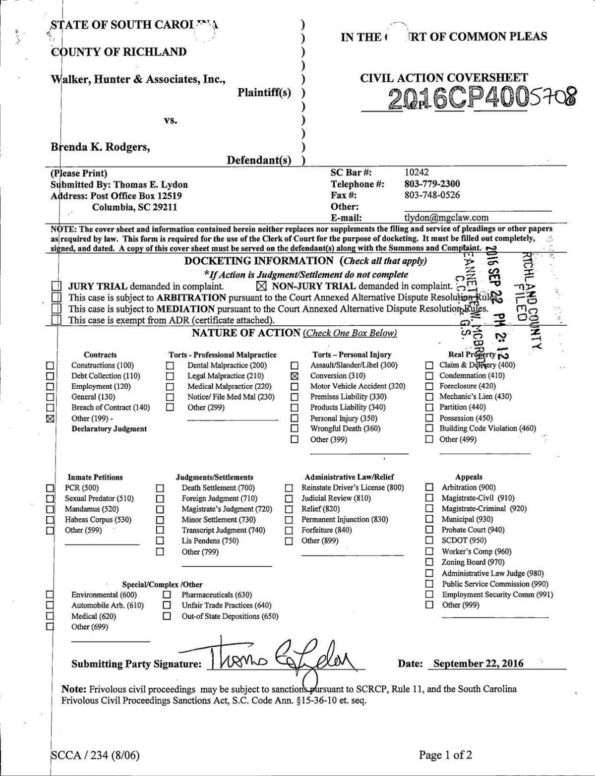 Civil Complaint: Walker, Hunter & Associates Inc  v Brenda Rodgers