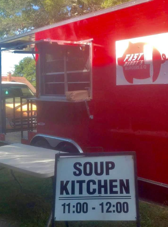 Soup Kitchen sign with Fat Daddy's BBQ