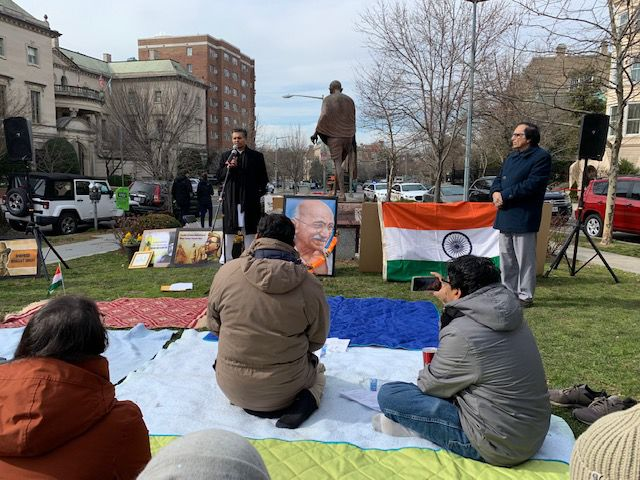 'Sit-in-Satyagraha' held by the Gandhi statue opposite to Indian Embassy in D.C.