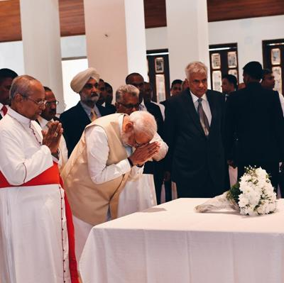 Modi makes unscheduled stop at bombed Sri Lanka church