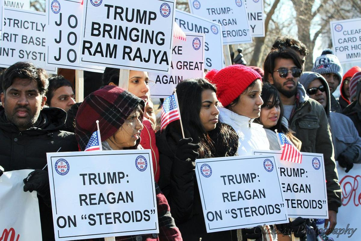 Republican Hindu Coalition holds rally to support President Trump's immigration policy