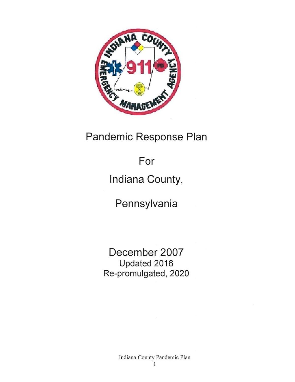 Indiana County Pandemic Plan (PDF)