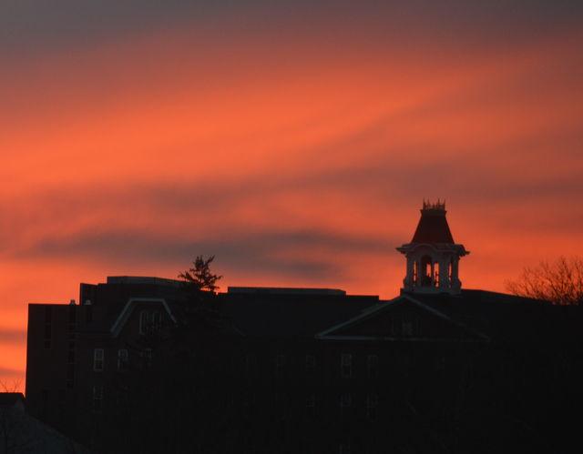 IUP sunset skyline sutton bell tower
