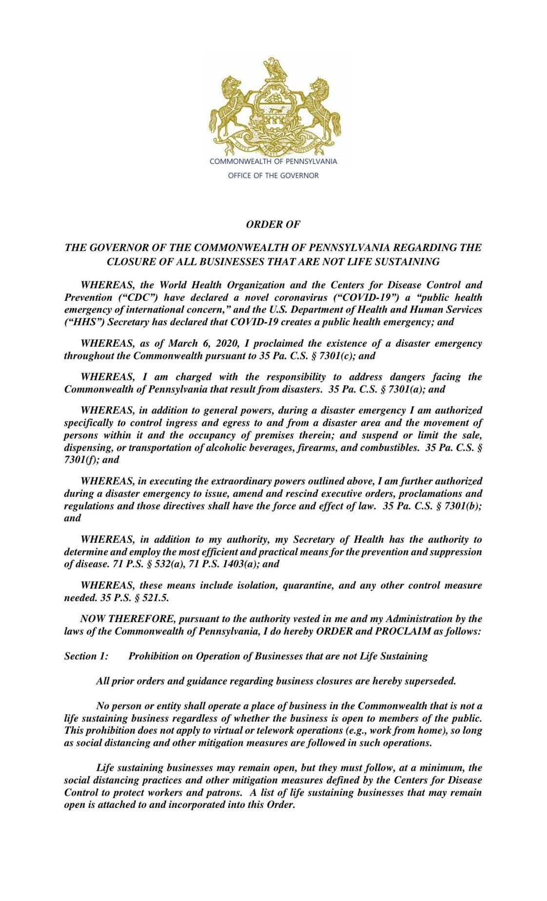 Governor's Closing Order, March 19 (PDF)