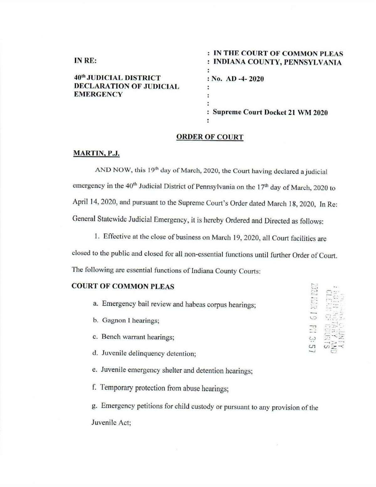 Indiana County court closing order (PDF)