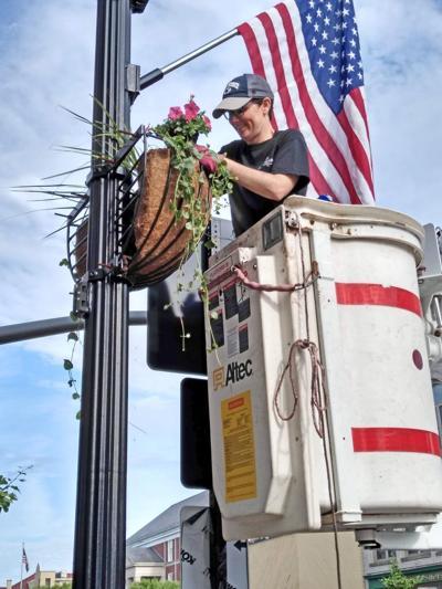 Downtown flower baskets