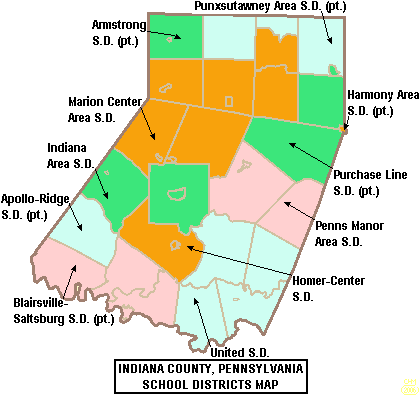Indiana County schools map