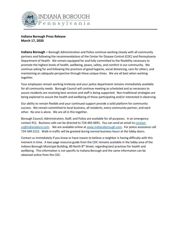 Indiana Borough Press Release COVID 19 Community Resource, March 17 (PDF)