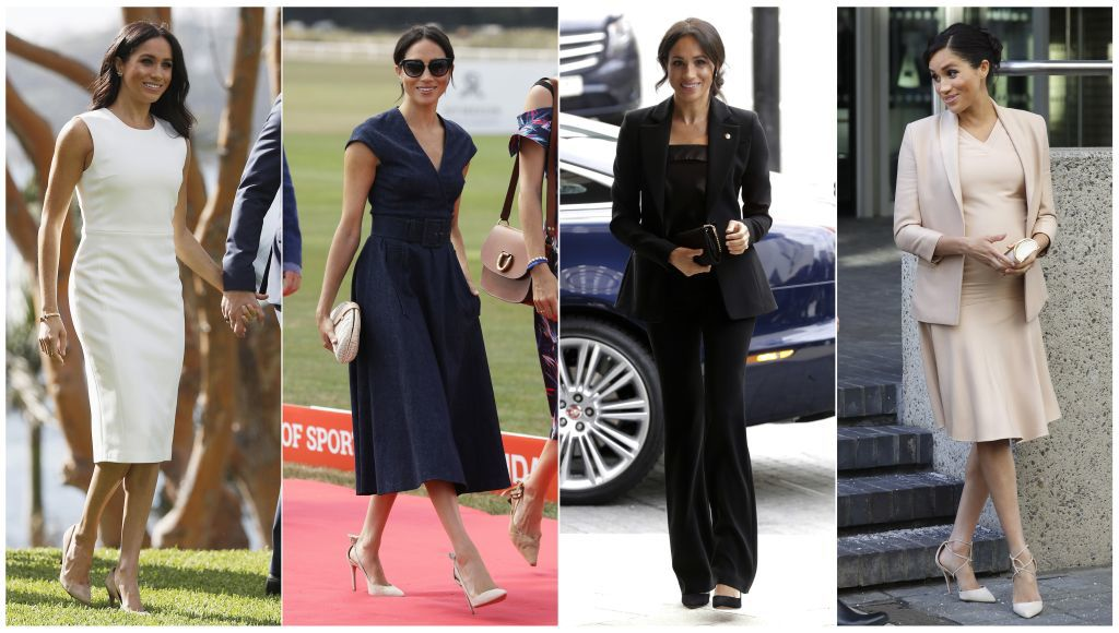 This combination photo shows Meghan, Duchess of Sussex