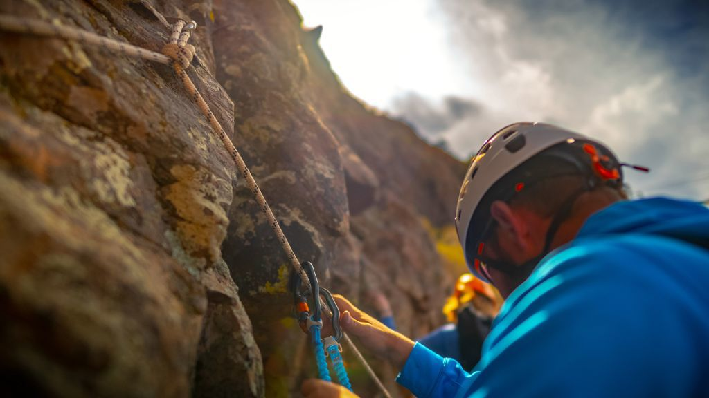 Guides to the Royal Gorge via ferrata instruct climbers