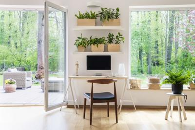 pulling a console table and chair into a room