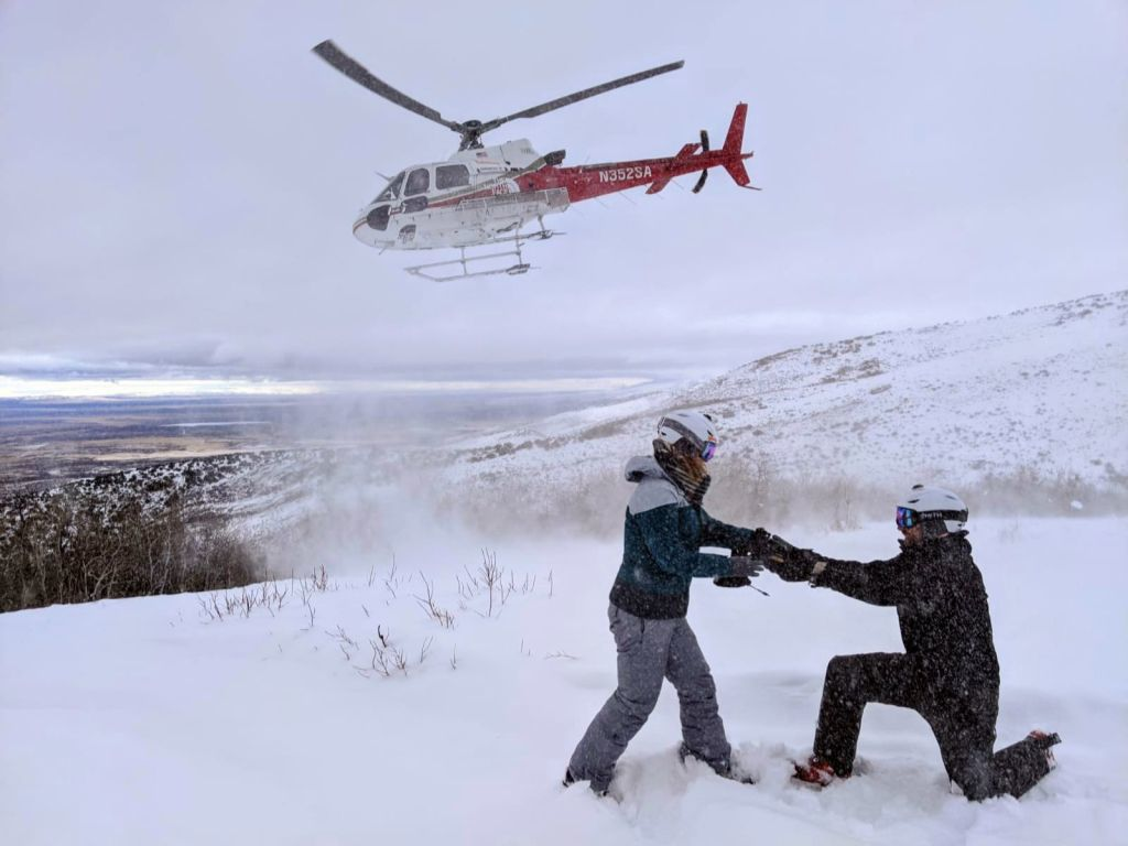 Jake Avery proposing to Kate Whiting while helicopter skiing