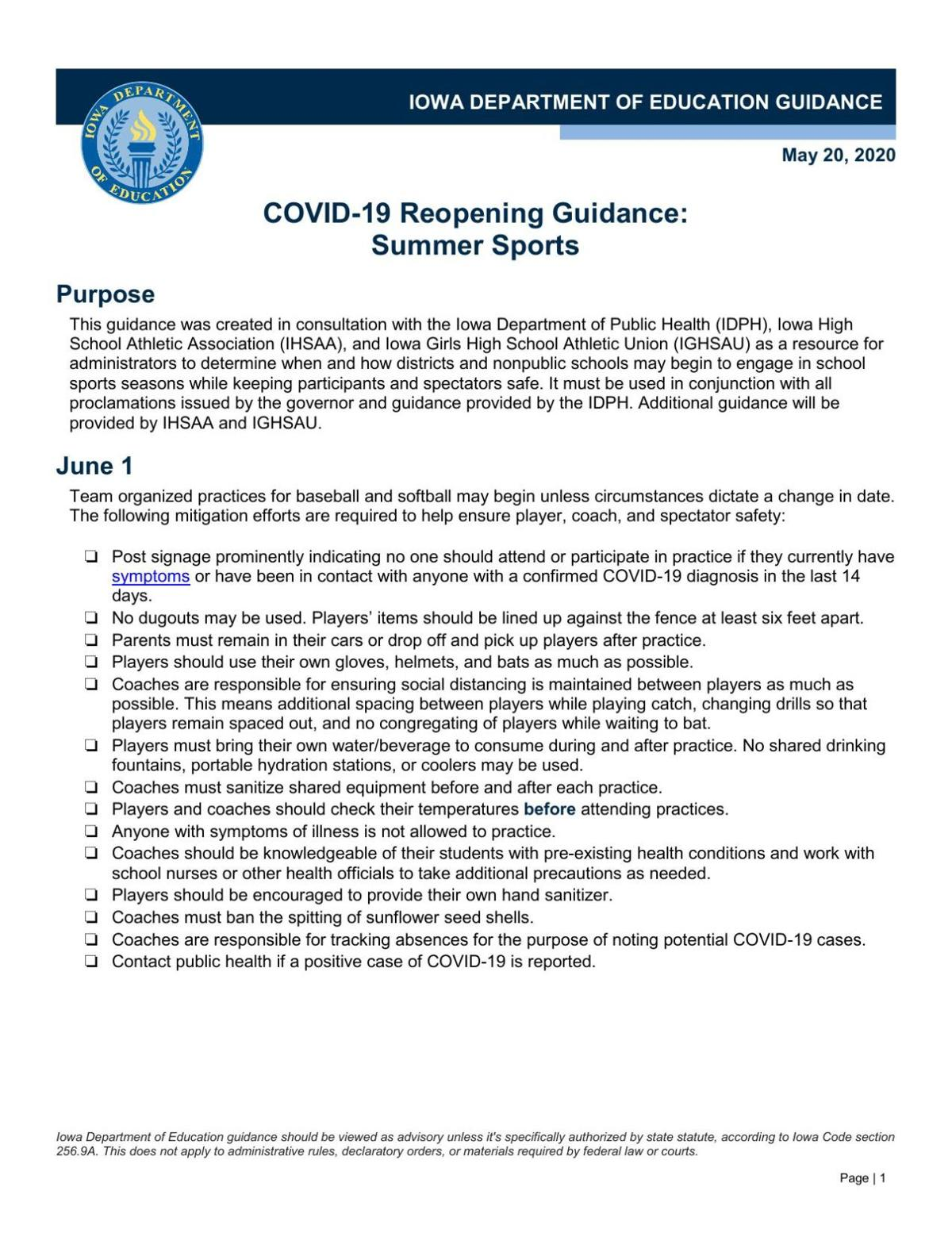Department of Education guidelines