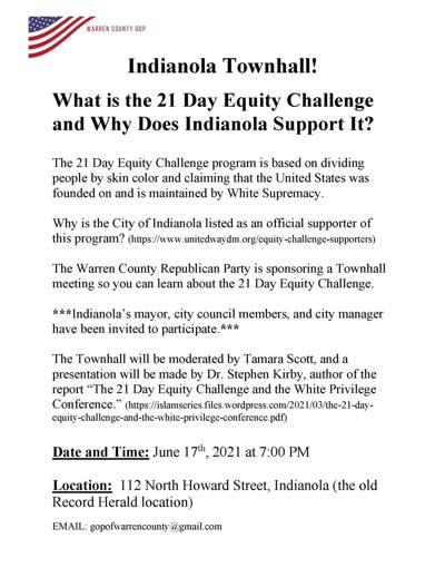 Warren County Republican Party to host 21-Day Equity Challenge townhall