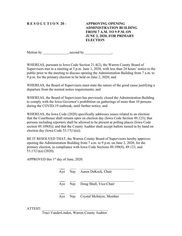 Warren County resolution