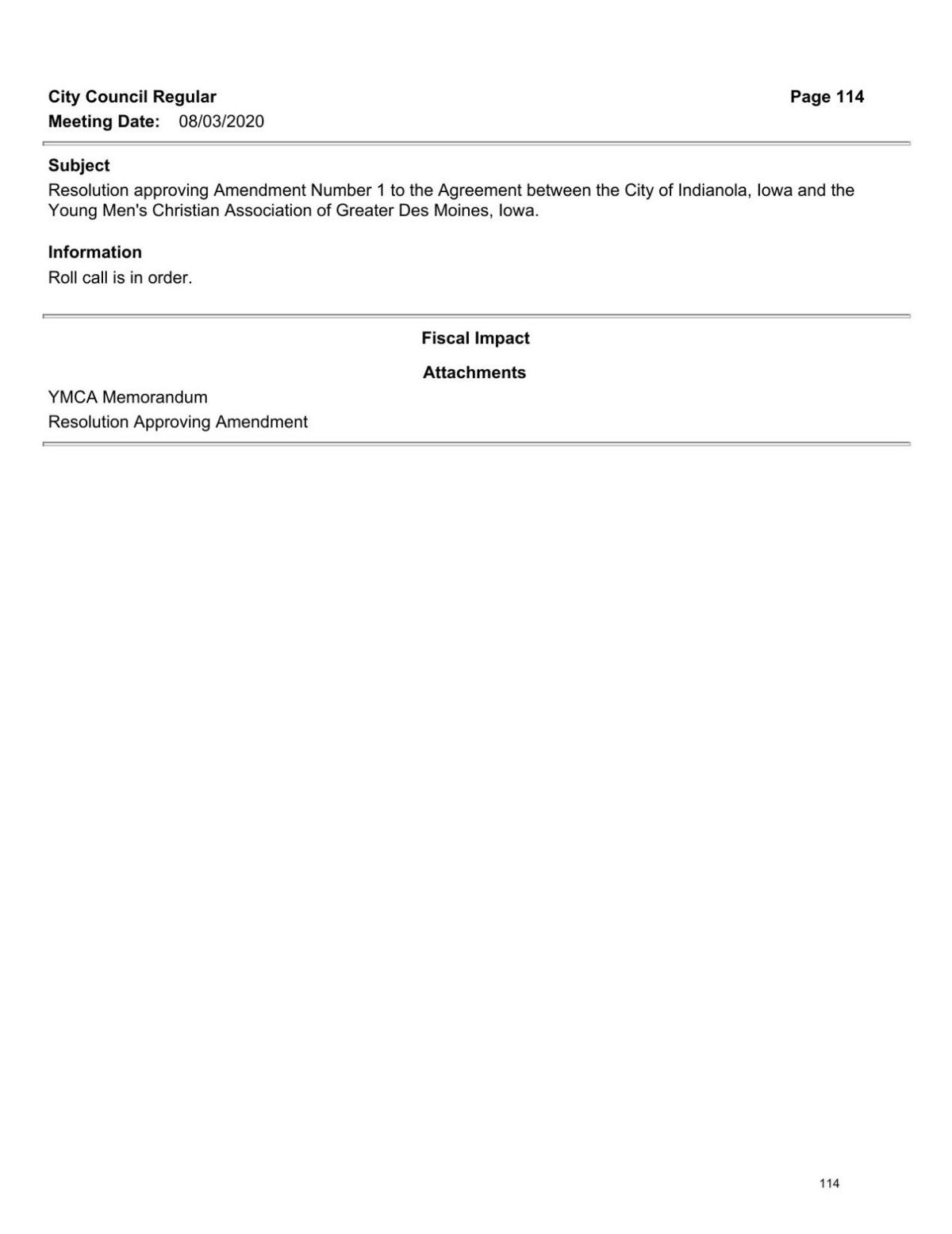 Proposed YMCA agreement