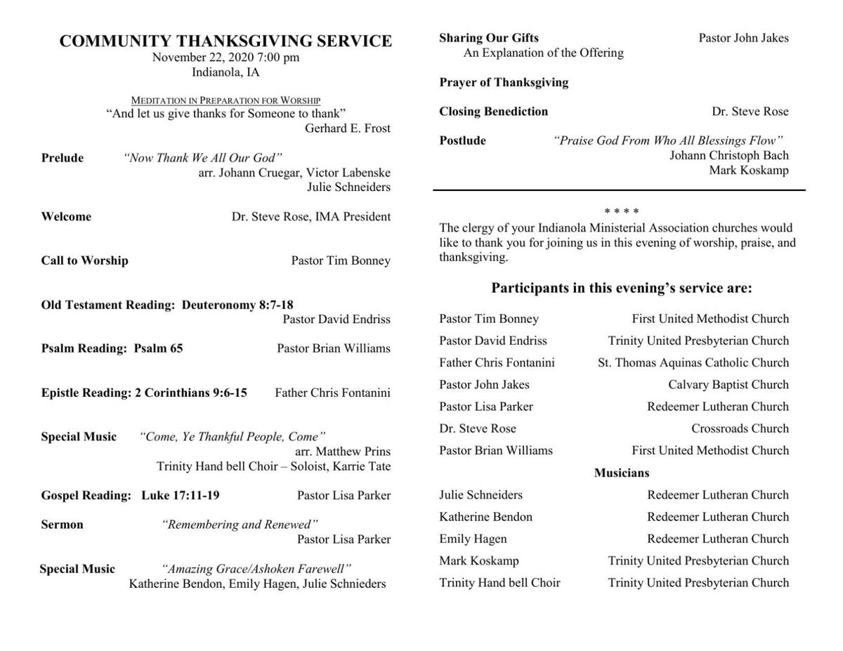 Bulletin for ecumenical Thanksgiving service
