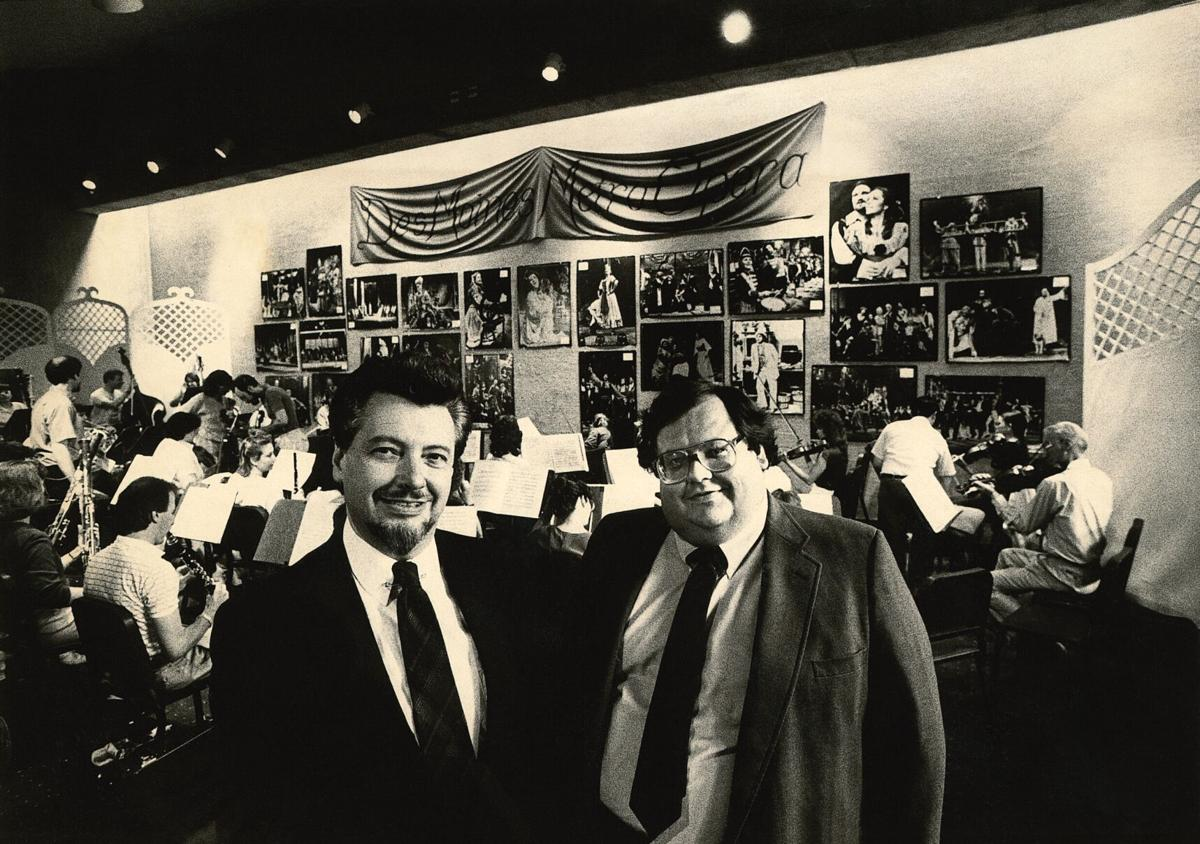Robert L. Larsen & Doug Duncan in the Blank Performing Arts Center lobby with the DMMO festival orchestra.jpg