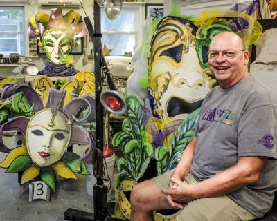 Bob - masks - Bob sitting with masks-2.JPG