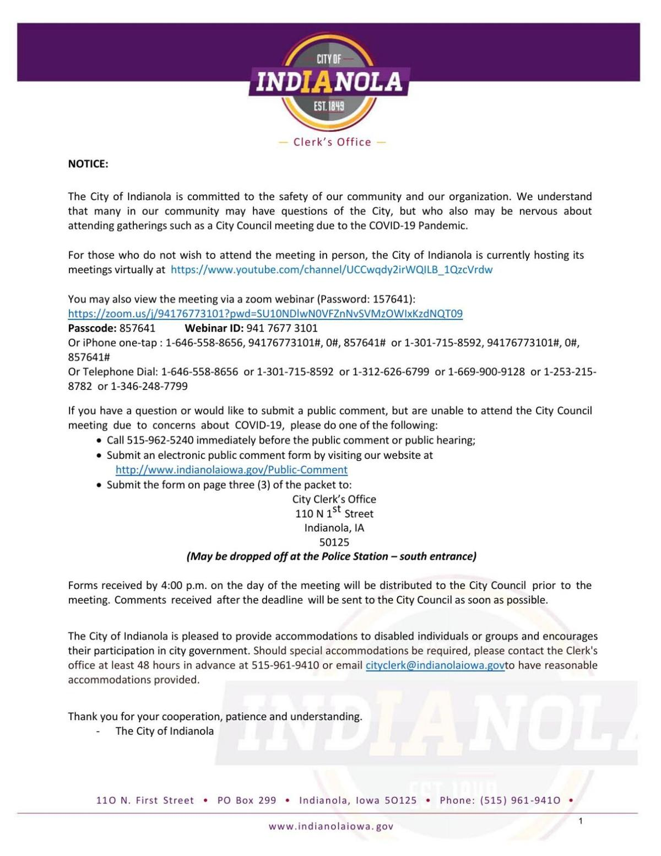 9.29 Indianola city council agenda
