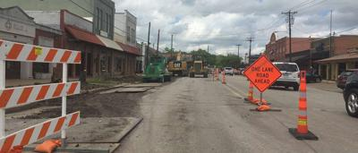 Portion of Main Street in downtown Forney one-way traffic due to construction project